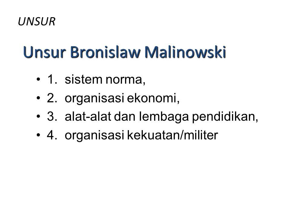 UNSUR 1. sistem norma, 2. organisasi ekonomi, 3. alat-alat dan lembaga pendidikan, 4. organisasi kekuatan/militer Unsur Bronislaw Malinowski