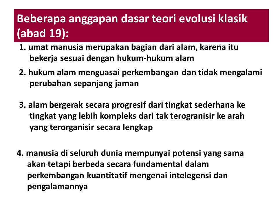 Beberapa anggapan dasar teori evolusi klasik (abad 19): 1. umat manusia merupakan bagian dari alam, karena itu bekerja sesuai dengan hukum-hukum alam
