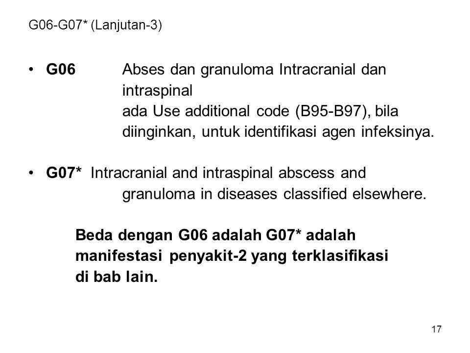 17 G06-G07* (Lanjutan-3) G06Abses dan granuloma Intracranial dan intraspinal ada Use additional code (B95-B97), bila diinginkan, untuk identifikasi ag