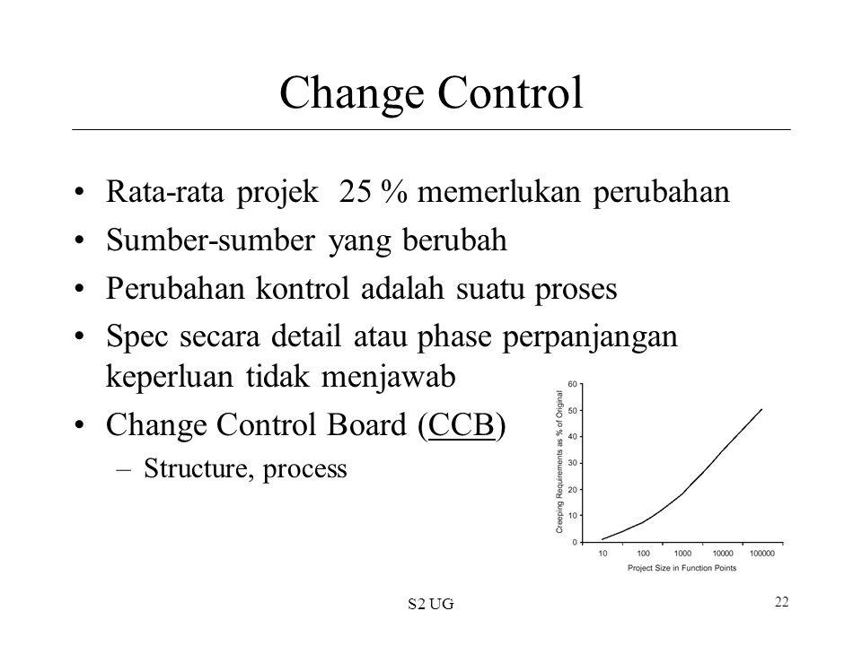 S2 UG 22 Change Control Rata-rata projek 25 % memerlukan perubahan Sumber-sumber yang berubah Perubahan kontrol adalah suatu proses Spec secara detail atau phase perpanjangan keperluan tidak menjawab Change Control Board (CCB)CCB –Structure, process