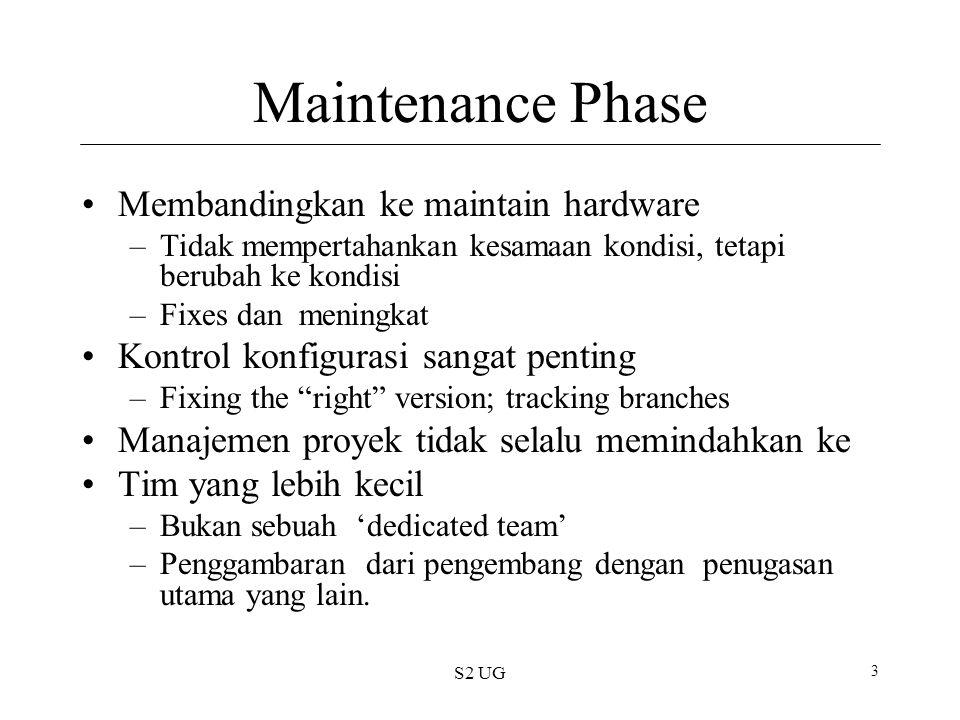 S2 UG 3 Maintenance Phase Membandingkan ke maintain hardware –Tidak mempertahankan kesamaan kondisi, tetapi berubah ke kondisi –Fixes dan meningkat Ko