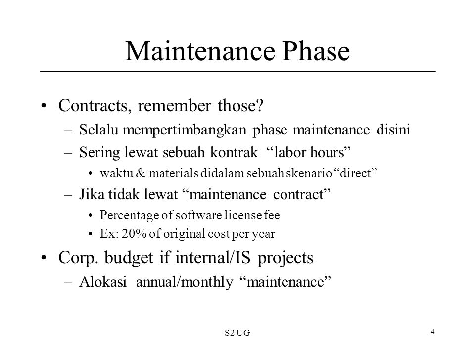 S2 UG 5 Success Metrics 1.On schedule –Memerlukan : plan; estimation; control yang baik 2.