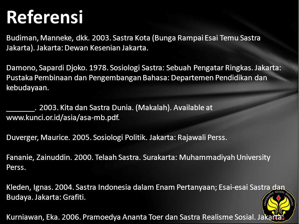 Referensi Budiman, Manneke, dkk. 2003. Sastra Kota (Bunga Rampai Esai Temu Sastra Jakarta).