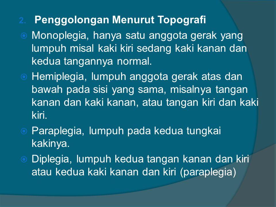 2. Penggolongan Menurut Topografi  Monoplegia, hanya satu anggota gerak yang lumpuh misal kaki kiri sedang kaki kanan dan kedua tangannya normal.  H