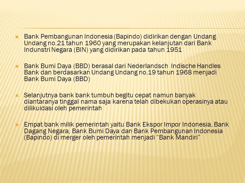  Bank Pembangunan Indonesia (Bapindo) didirikan dengan Undang Undang no.21 tahun 1960 yang merupakan kelanjutan dari Bank Indunstri Negara (BIN) yang didirikan pada tahun 1951  Bank Bumi Daya (BBD) berasal dari Nederlandsch Indische Handles Bank dan berdasarkan Undang Undang no.19 tahun 1968 menjadi Bank Bumi Daya (BBD)  Selanjutnya bank bank tumbuh begitu cepat namun banyak diantaranya tinggal nama saja karena telah dibekukan operasinya atau dilikuidasi oleh pemerintah  Empat bank milik pemerintah yaitu Bank Ekspor Impor Indonesia, Bank Dagang Negara, Bank Bumi Daya dan Bank Pembangunan Indonesia (Bapindo) di merger oleh pemerintah menjadi Bank Mandiri
