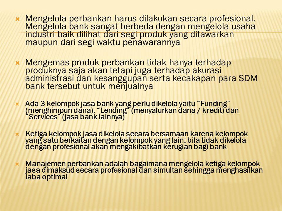  Mengelola perbankan harus dilakukan secara profesional.