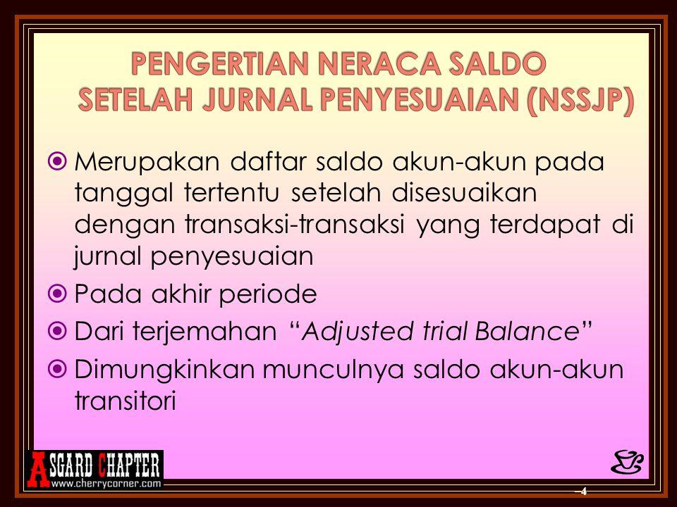  Tujuan: › Mengecek keseimbangan PDA › Mengetahui saldo/posisi nilai rupiah masing- masing akun yang akan digunakan untuk membuat laporan keuangan –5–5