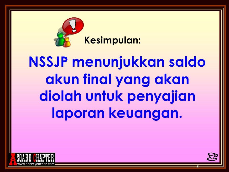 Kesimpulan: NSSJP menunjukkan saldo akun final yang akan diolah untuk penyajian laporan keuangan. –6–6