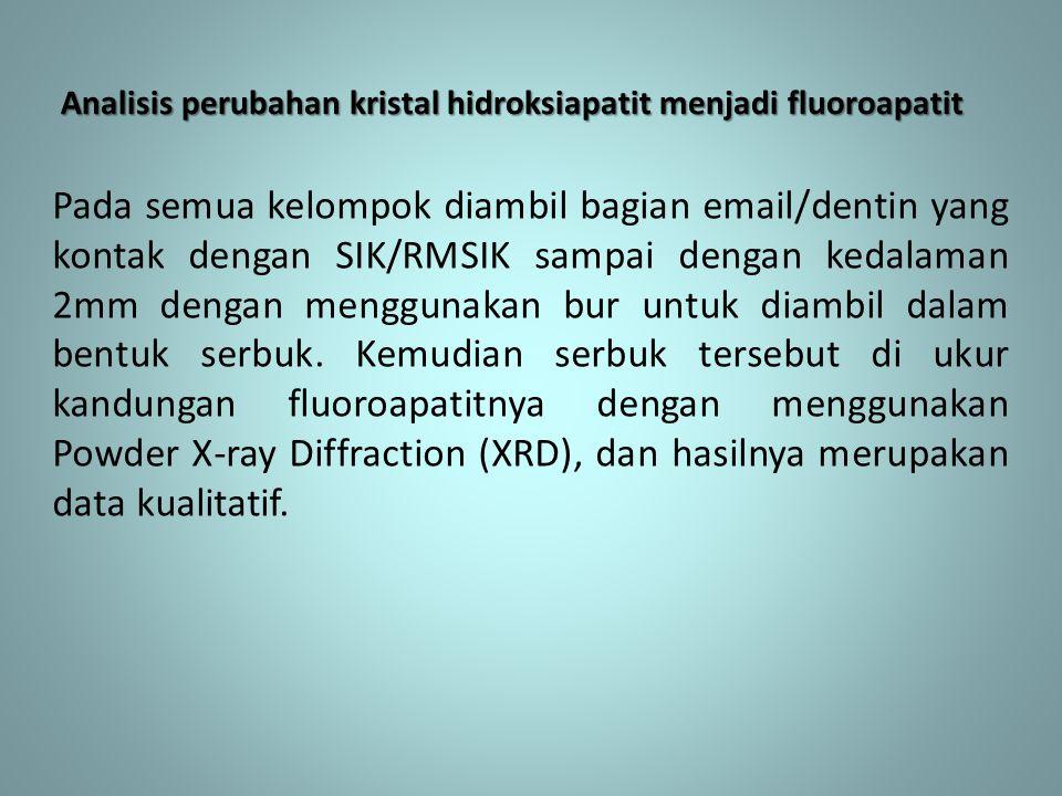 Analisis perubahan kristal hidroksiapatit menjadi fluoroapatit Pada semua kelompok diambil bagian email/dentin yang kontak dengan SIK/RMSIK sampai den