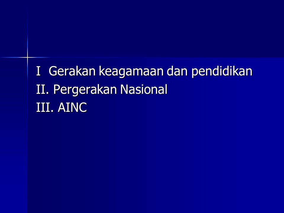I Gerakan keagamaan dan pendidikan II. Pergerakan Nasional III. AINC