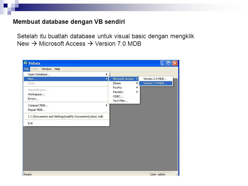 Menampilkan data dengan Program Private Sub Tampil_Click() Text1.Text = Data1.Recordset.Fields( KODE ) Text2.Text = Data1.Recordset.Fields( NAMA ) Text3.Text = Data1.Recordset.fields(2) Text4.Text = Data1.Recordset.Fields(3) End Sub