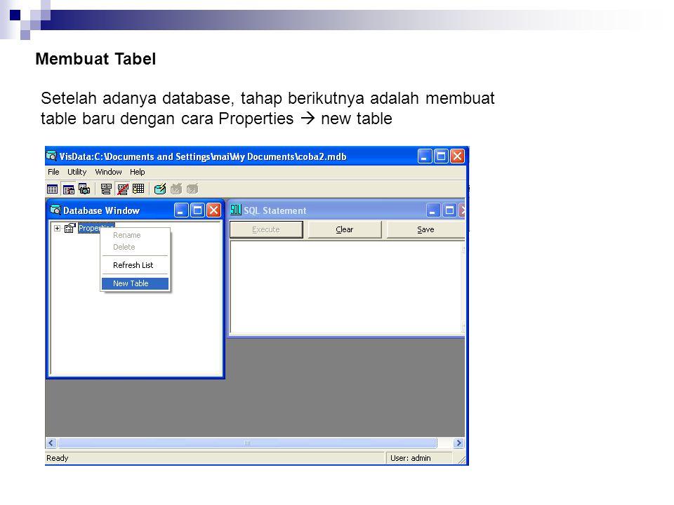 Membuat Tabel Setelah adanya database, tahap berikutnya adalah membuat table baru dengan cara Properties  new table