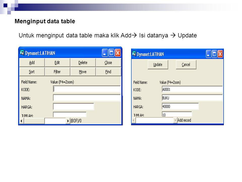 Menginput data table Untuk menginput data table maka klik Add  Isi datanya  Update