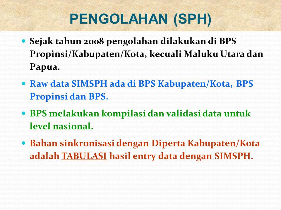 Sejak tahun 2008 pengolahan dilakukan di BPS Propinsi/Kabupaten/Kota, kecuali Maluku Utara dan Papua.