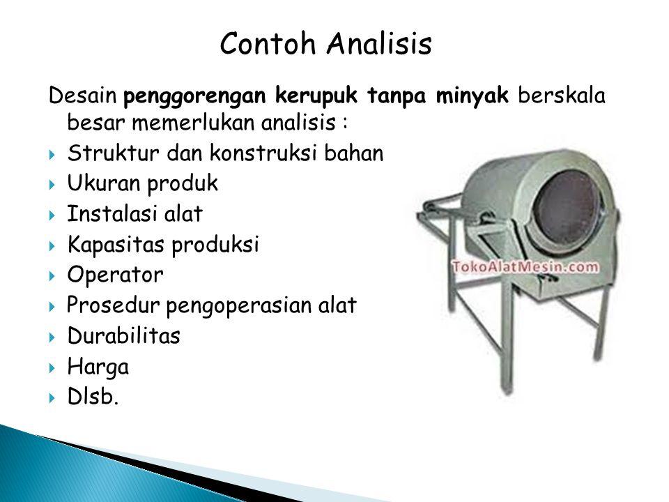 Desain penggorengan kerupuk tanpa minyak berskala besar memerlukan analisis :  Struktur dan konstruksi bahan  Ukuran produk  Instalasi alat  Kapas
