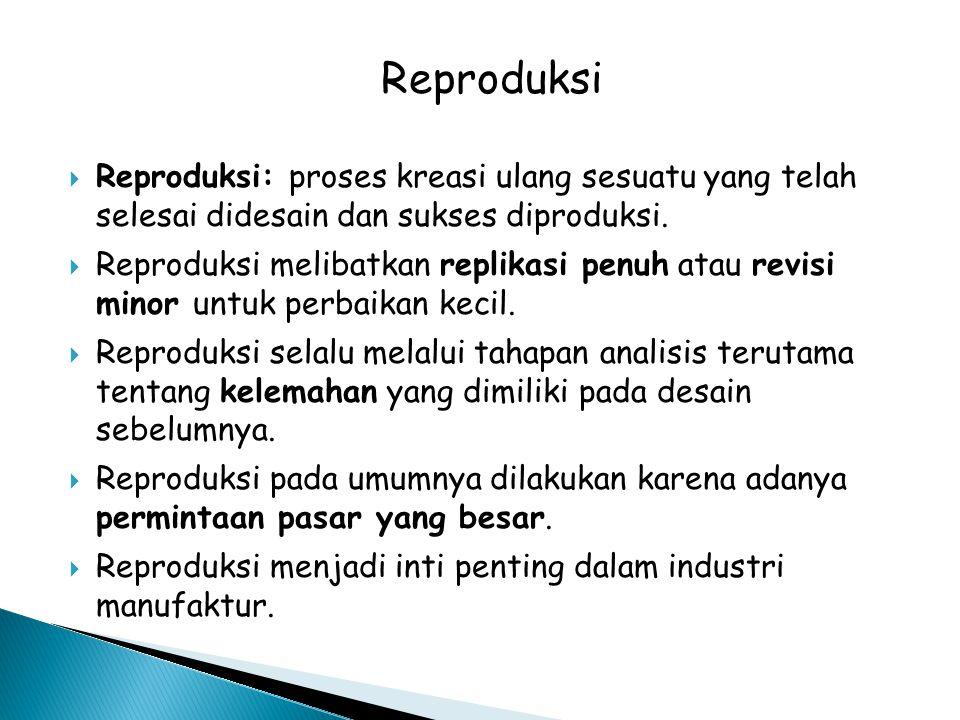  Reproduksi: proses kreasi ulang sesuatu yang telah selesai didesain dan sukses diproduksi.  Reproduksi melibatkan replikasi penuh atau revisi minor