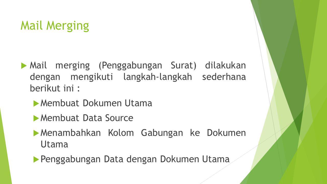 JIKA DIGAMBARKAN MAIL MERGE MAIN DATA + DATA SOURCE