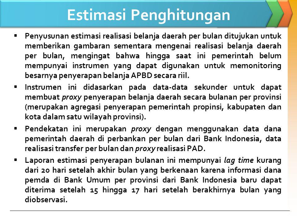 Cara Penghitungan  Langkah 1 Menghitung total realisasi dana transfer yang disalurkan ke daerah berdasarkan nomor SP2D per provinsi.