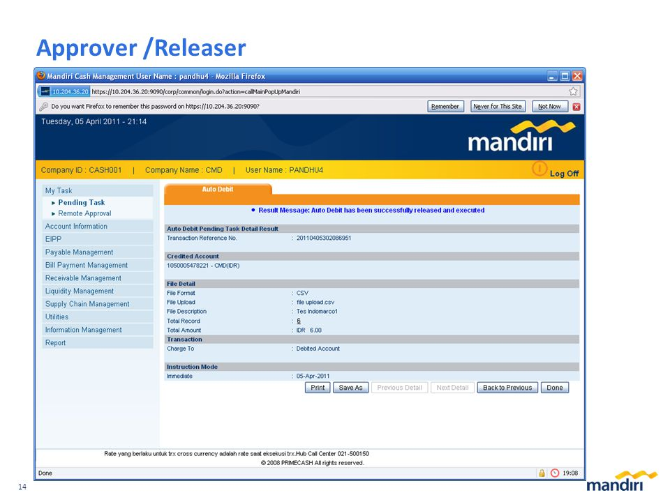 14 Approver /Releaser