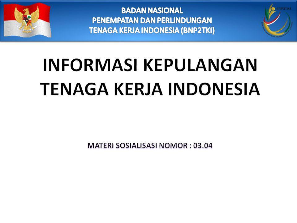 DASAR HUKUM Undang-undang Nomor 39 Tahun 2004 tentang Penempatan dan Perlindungan Tenaga Kerja Indonesia di Luar Negeri ( Lembar Negara Republik Indonesia Tahun 2004 Nomor 133, Tambahan Lembar Negara Indonesia Tahun 2004 Nomor 4445) Peraturan Menteri Tenaga Kerja dan Transmigrasi Nomor PER.12/MEN/X/2010 Tentang Pelaksanaan Penempatan dan Perlindungan Tenaga Kerja Indonesia di Luar Negeri Peraturan Menteri Tenaga Kerja dan Transmigrasi Nomor PER.16 Tahun 2012 Tentang Tata Cara Kepulangan Tenaga Kerja Indonesia dari Negara Penempatan Secara Mandiri ke Daerah Asal.
