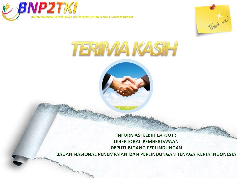 INFORMASI LEBIH LANJUT : DIREKTORAT PEMBERDAYAAN DEPUTI BIDANG PERLINDUNGAN BADAN NASIONAL PENEMPATAN DAN PERLINDUNGAN TENAGA KERJA INDONESIA