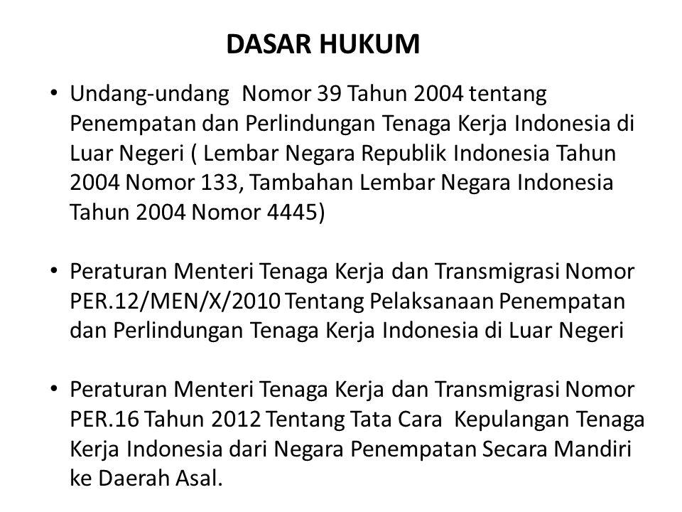 DASAR HUKUM Undang-undang Nomor 39 Tahun 2004 tentang Penempatan dan Perlindungan Tenaga Kerja Indonesia di Luar Negeri ( Lembar Negara Republik Indon