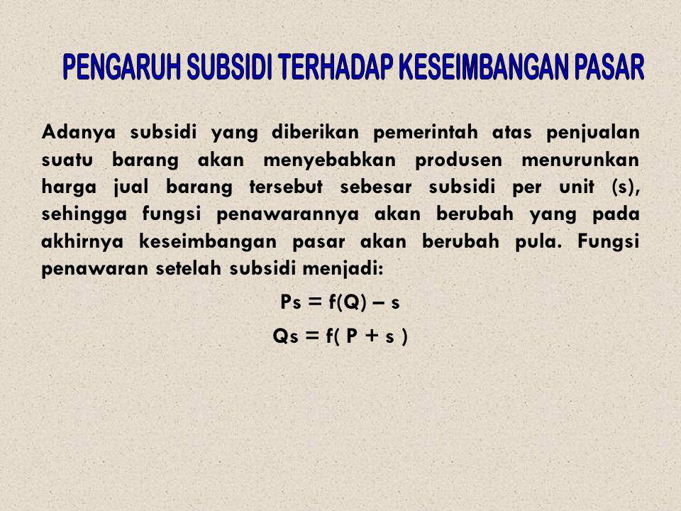Adanya subsidi yang diberikan pemerintah atas penjualan suatu barang akan menyebabkan produsen menurunkan harga jual barang tersebut sebesar subsidi p