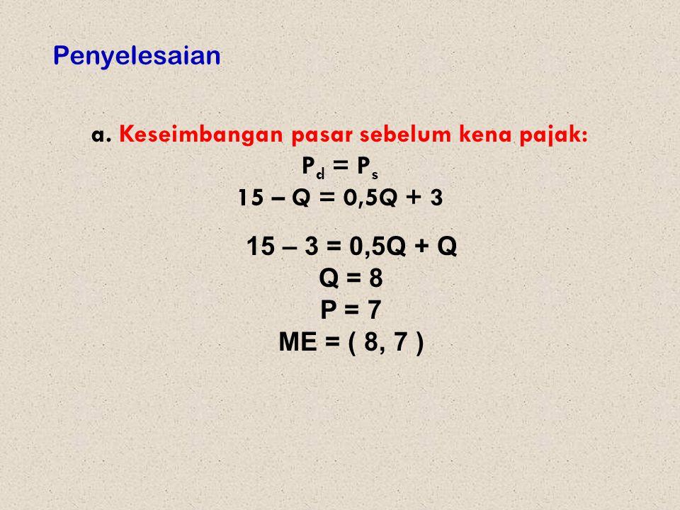 Penyelesaian a. Keseimbangan pasar sebelum kena pajak: P d = P s 15 – Q = 0,5Q + 3 15 – 3 = 0,5Q + Q Q = 8 P = 7 ME = ( 8, 7 )