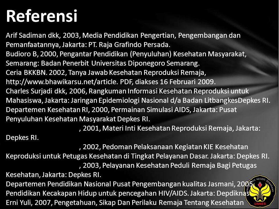 Referensi Arif Sadiman dkk, 2003, Media Pendidikan Pengertian, Pengembangan dan Pemanfaatannya, Jakarta: PT.