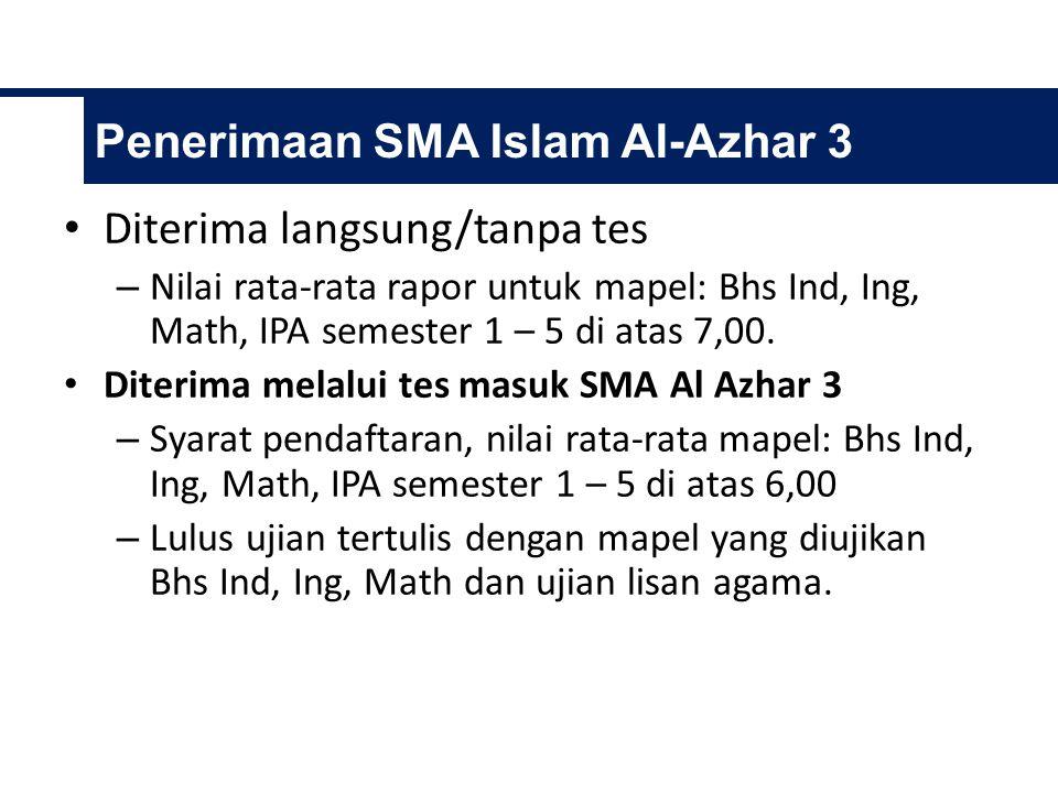Diterima langsung/tanpa tes – Nilai rata-rata rapor untuk mapel: Bhs Ind, Ing, Math, IPA semester 1 – 5 di atas 7,00.