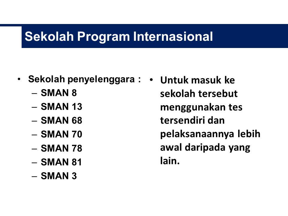 Sekolah Program Internasional Sekolah penyelenggara : –SMAN 8 –SMAN 13 –SMAN 68 –SMAN 70 –SMAN 78 –SMAN 81 –SMAN 3 Untuk masuk ke sekolah tersebut menggunakan tes tersendiri dan pelaksanaannya lebih awal daripada yang lain.