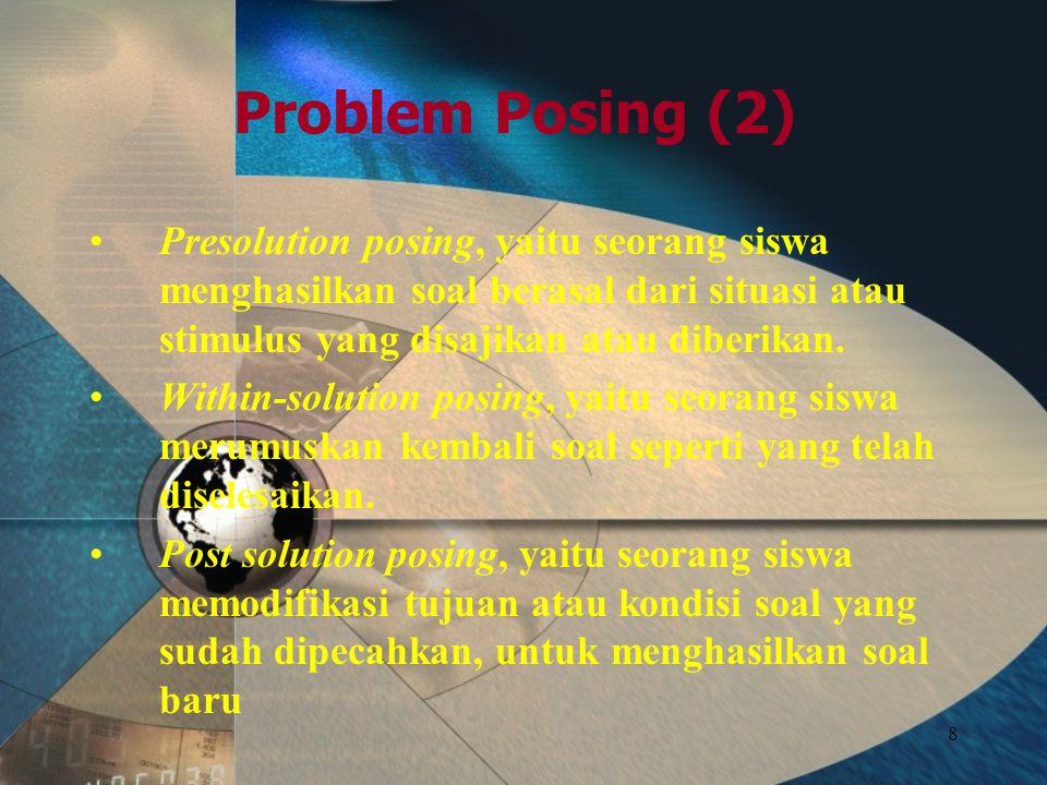 8 Problem Posing (2) Presolution posing, yaitu seorang siswa menghasilkan soal berasal dari situasi atau stimulus yang disajikan atau diberikan.