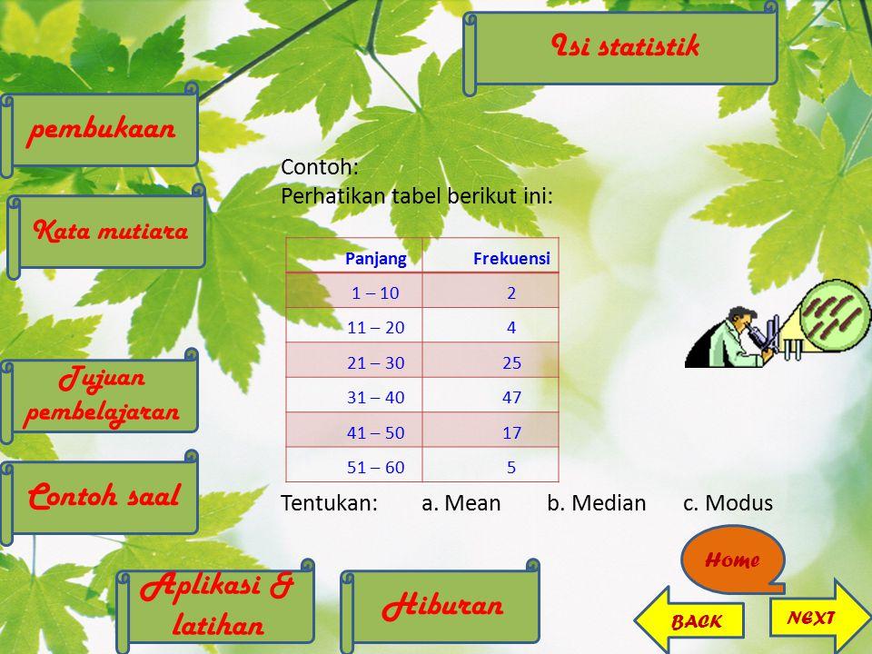 Contoh: Perhatikan tabel berikut ini: Tentukan:a. Mean b. Medianc. Modus PanjangFrekuensi 1 – 102 11 – 204 21 – 3025 31 – 4047 41 – 5017 51 – 605 Home