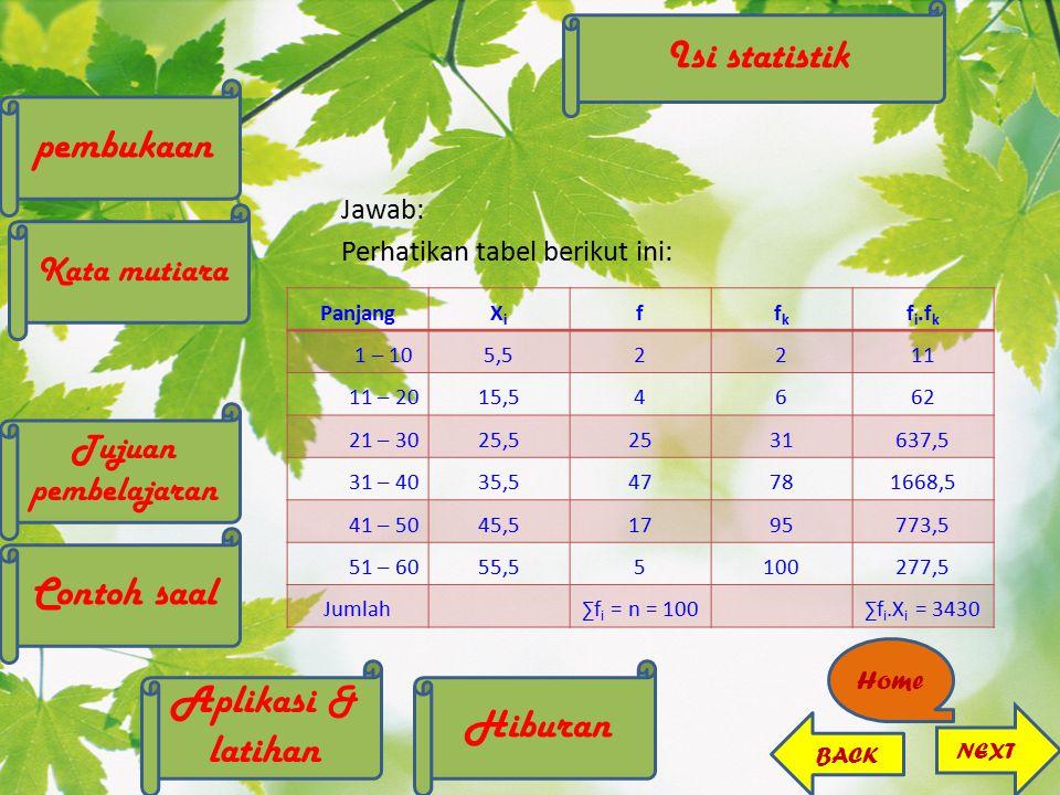 Jawab: Perhatikan tabel berikut ini: PanjangXiXi ffkfk f i.f k 1 – 105,52211 11 – 2015,54662 21 – 3025,52531637,5 31 – 4035,547781668,5 41 – 5045,5179
