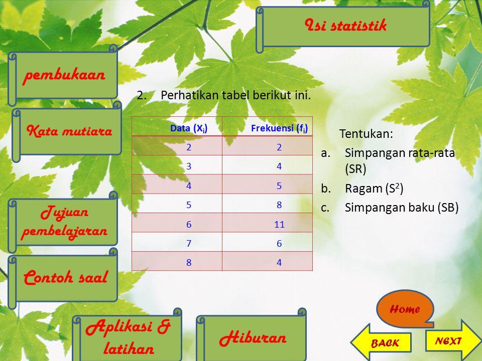 2.Perhatikan tabel berikut ini. Tentukan: a.Simpangan rata-rata (SR) b.Ragam (S 2 ) c.Simpangan baku (SB) Data (X i )Frekuensi (f i ) 22 34 45 58 611