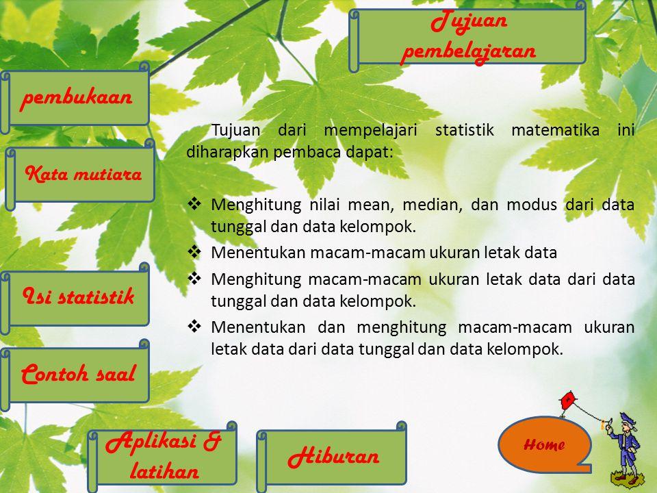 INFORMASI Kata mutiara Isi statistik Tujuan pembelajaran pembukaan Hiburan Contoh saal Aplikasi & latihan NEXT Home BACK Biodata Program ini disusun dengan kerjasama dari kelompok, berikut adalah biodata dari penyususun program ini : Nyimas Arum Lahir di Cirebon tanggal 2 Desember 1992.