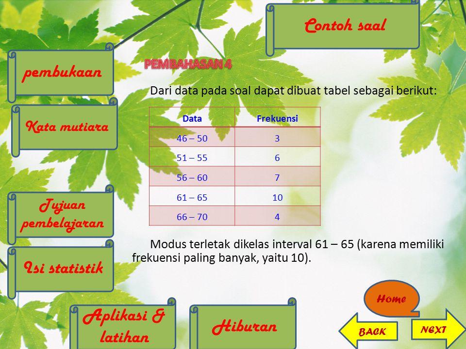 Dari data pada soal dapat dibuat tabel sebagai berikut: Modus terletak dikelas interval 61 – 65 (karena memiliki frekuensi paling banyak, yaitu 10). D