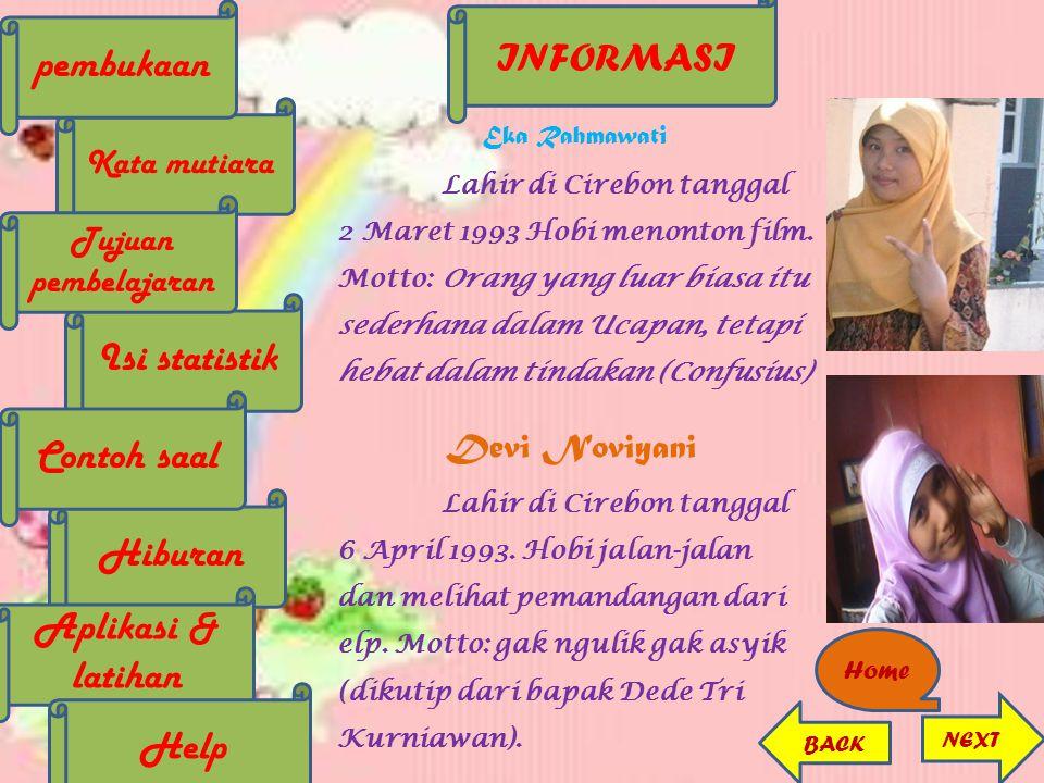 Eka Rahmawati Lahir di Cirebon tanggal 2 Maret 1993 Hobi menonton film. Motto: Orang yang luar biasa itu sederhana dalam Ucapan, tetapi hebat dalam ti