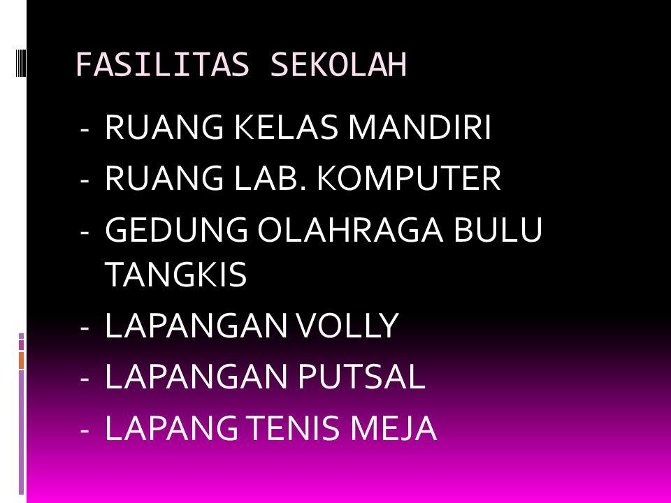 KEGIATAN BELAJAR MENGAJAR - KBM DILAKSANAKAN PAGI HARI - MATA PELAJARAN 1. Matematika 2. IPA 3. IPS 4. PKn 5. Bahasa Indonesia 6. Bahasa Inggris 7. Ba