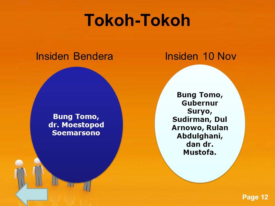 Page 12 Tokoh-Tokoh Insiden BenderaInsiden 10 Nov Bung Tomo, dr. Moestopod Soemarsono Bung Tomo, dr. Moestopod Soemarsono Bung Tomo, Gubernur Suryo, S
