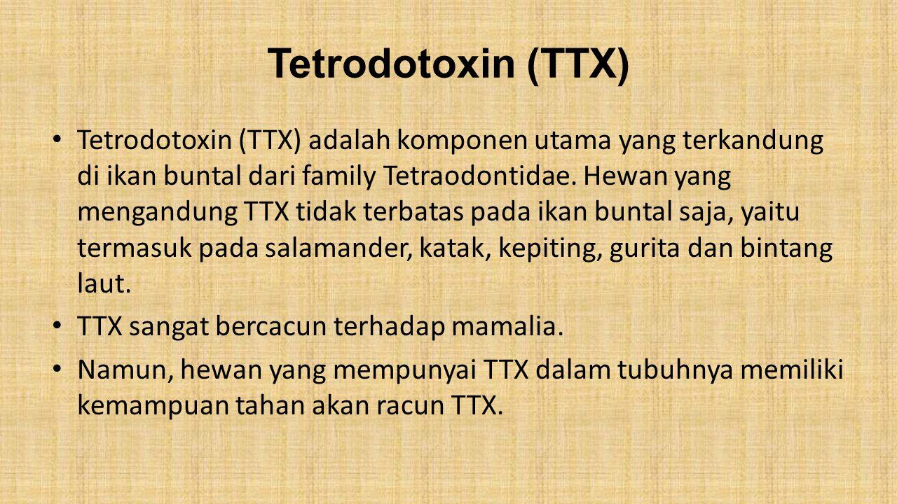 Tetrodotoxin (TTX) Tetrodotoxin (TTX) adalah komponen utama yang terkandung di ikan buntal dari family Tetraodontidae. Hewan yang mengandung TTX tidak