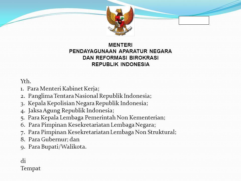 SALINAN MENTERI PENDAYAGUNAAN APARATUR NEGARA DAN REFORMASI BIROKRASI REPUBLIK INDONESIA Yth.