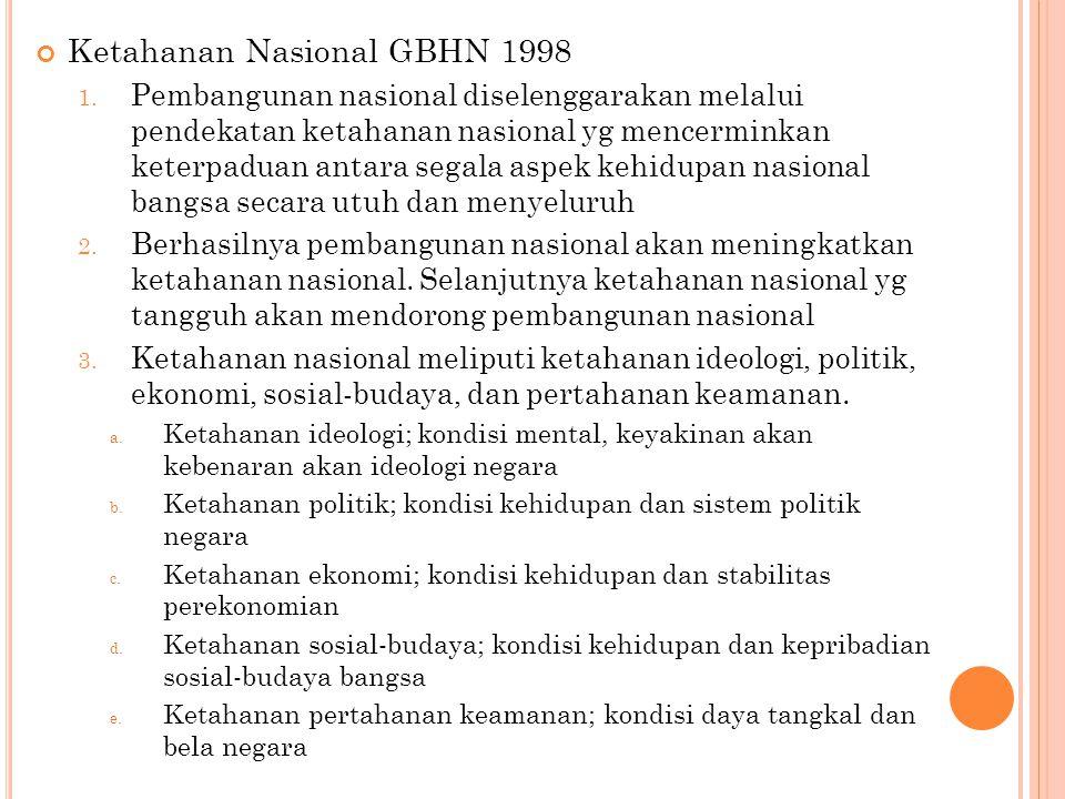 Ketahanan Nasional GBHN 1998 1. Pembangunan nasional diselenggarakan melalui pendekatan ketahanan nasional yg mencerminkan keterpaduan antara segala a