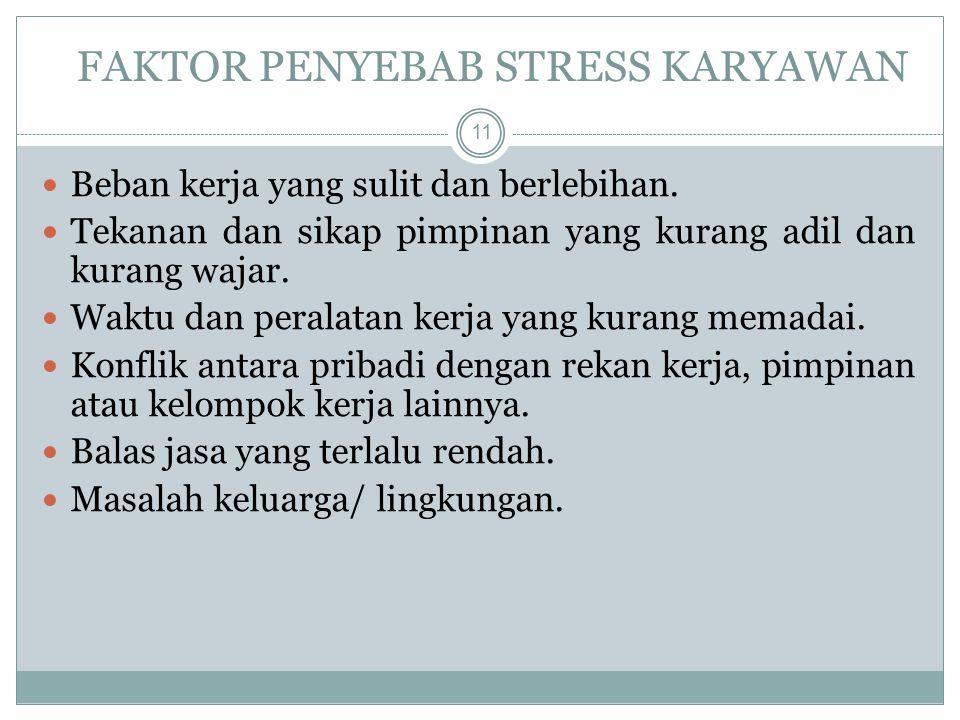 FAKTOR PENYEBAB STRESS KARYAWAN Beban kerja yang sulit dan berlebihan.