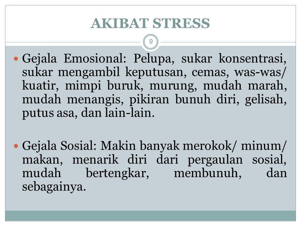 Gejala Emosional: Pelupa, sukar konsentrasi, sukar mengambil keputusan, cemas, was-was/ kuatir, mimpi buruk, murung, mudah marah, mudah menangis, pikiran bunuh diri, gelisah, putus asa, dan lain-lain.