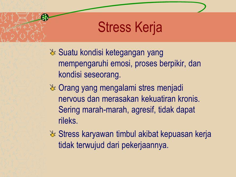 Stress Kerja Faktor Penyebab Stress Karyawan –Beban kerja yang sulit dan berlebihan –Tekanan dan sikap pimpinan yang kurang adil dan wajar –Waktu dan peralatan kerja yang kurang memadai –Konflik antara pribadi dengan pimpinan atau kelompok kerja –Balas jasa yang terlalu rendah –Masalah keluarga