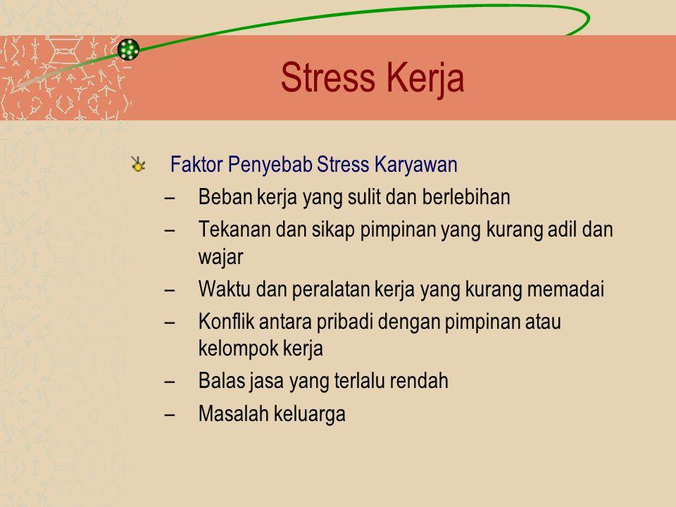 Stress Kerja Faktor Penyebab Stress Karyawan –Beban kerja yang sulit dan berlebihan –Tekanan dan sikap pimpinan yang kurang adil dan wajar –Waktu dan