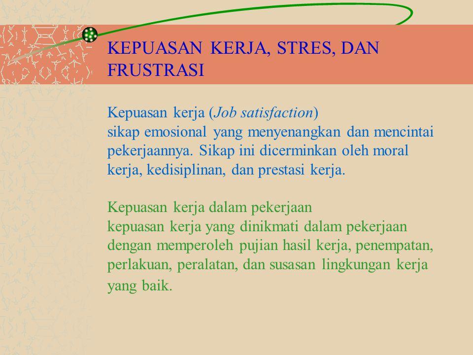 KEPUASAN KERJA, STRES, DAN FRUSTRASI Kepuasan kerja (Job satisfaction) sikap emosional yang menyenangkan dan mencintai pekerjaannya. Sikap ini dicermi