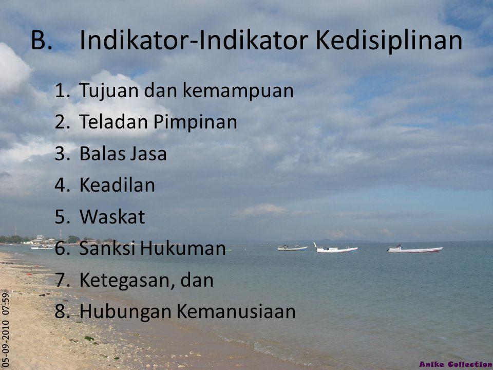 B.Indikator-Indikator Kedisiplinan 1.Tujuan dan kemampuan 2.Teladan Pimpinan 3.Balas Jasa 4.Keadilan 5.Waskat 6.Sanksi Hukuman 7.Ketegasan, dan 8.Hubu