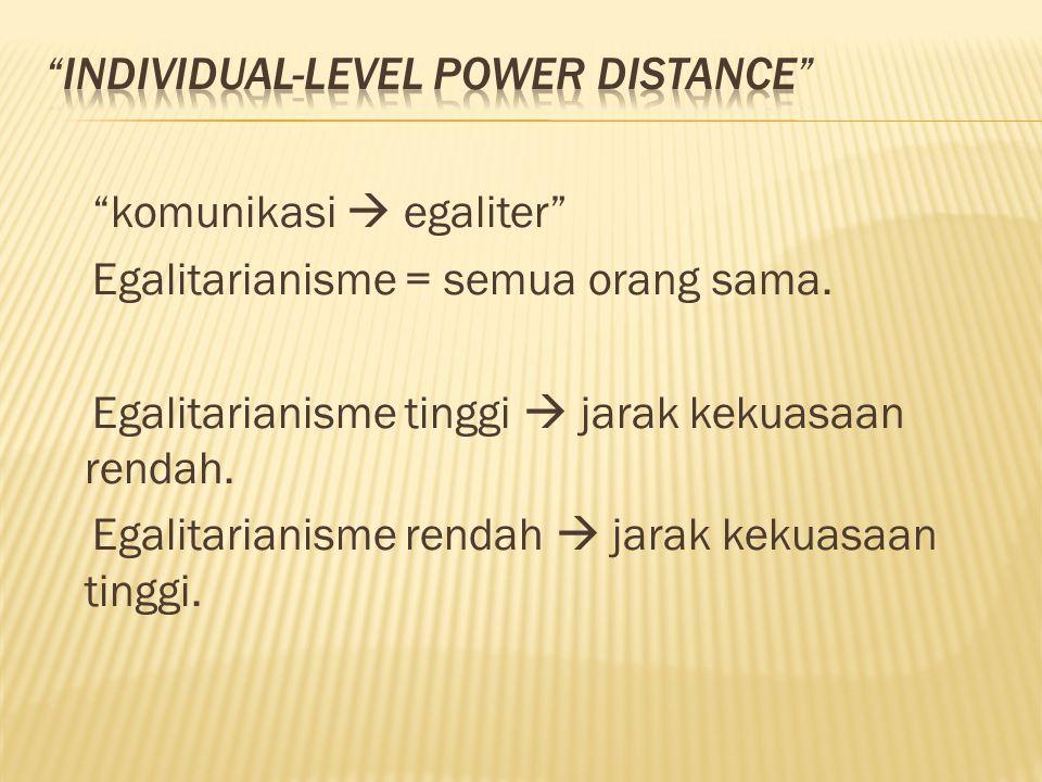 """""""komunikasi  egaliter"""" Egalitarianisme = semua orang sama. Egalitarianisme tinggi  jarak kekuasaan rendah. Egalitarianisme rendah  jarak kekuasaan"""